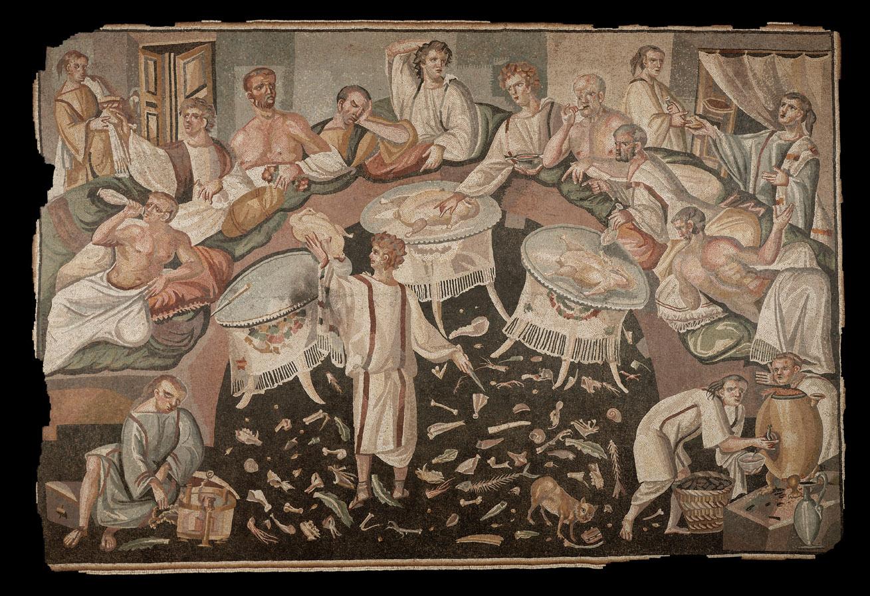 Mosaico con scena di banchetto romano, da Aquileia, V sec.